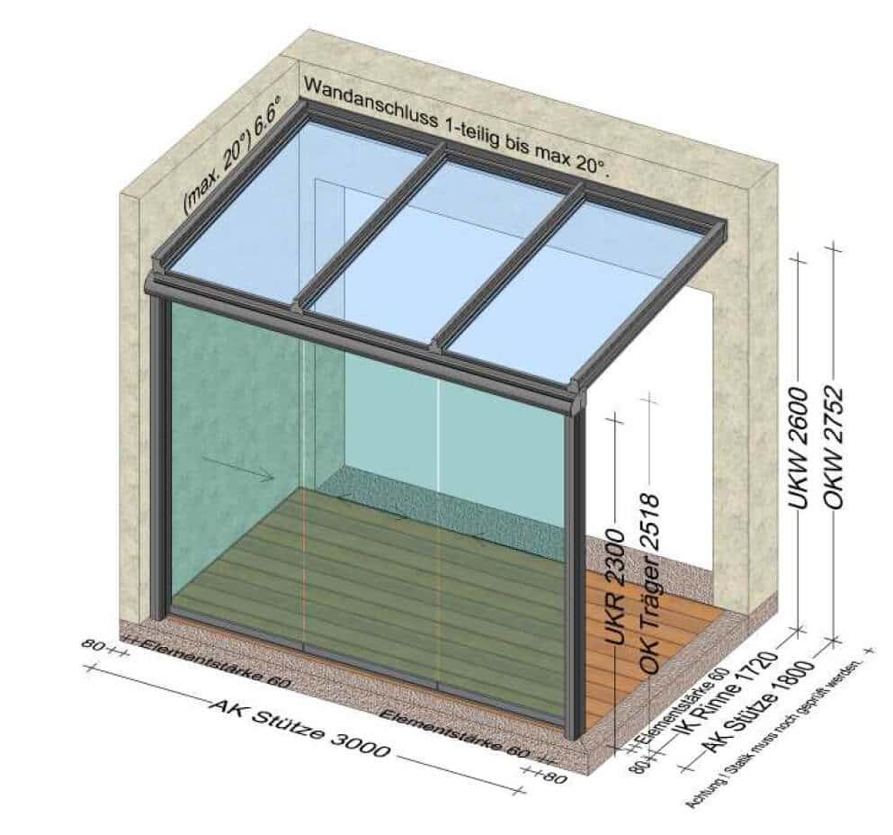 Terrassenüberdachung vorne geschlossen mit Schiebetüren - Planung