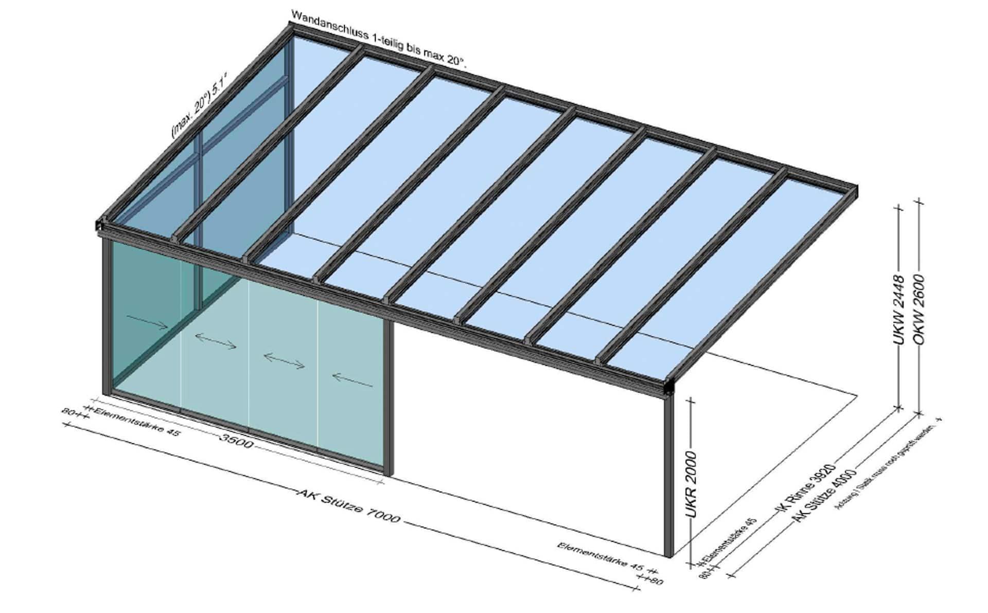 Terrassenüberdachung vorne nur zur Hälfte verglast