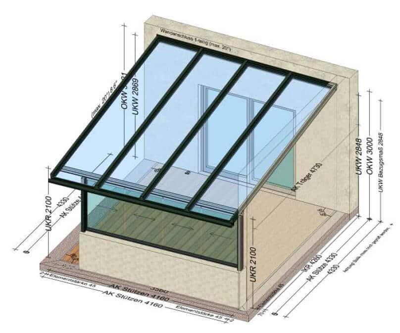 Terrassenüberdachung vorne schließen