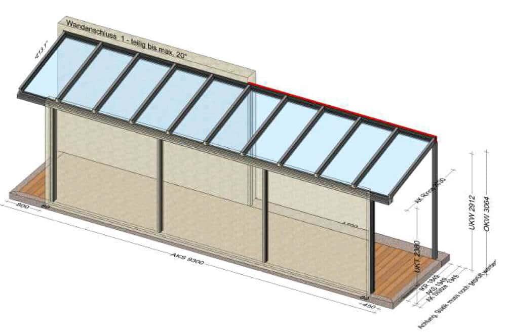 Terrassenüberdachung zwischen Haus und Garage