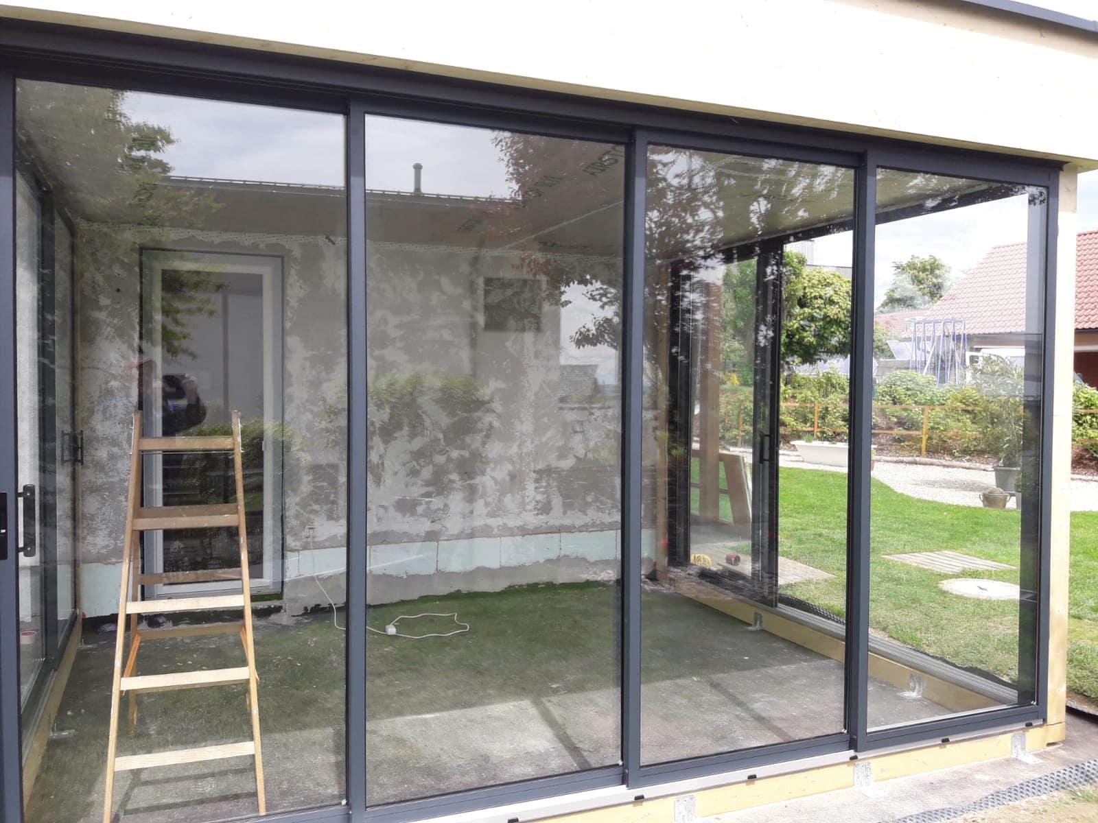 Terrassenverbau Aluminium Glas