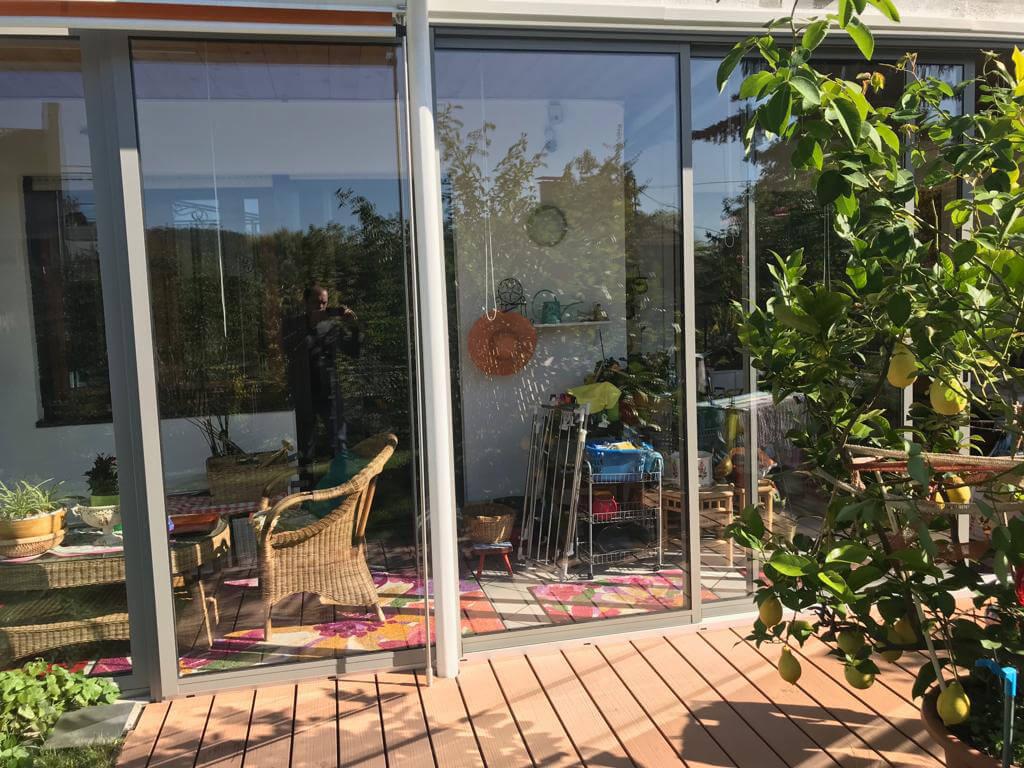Terrassenverglasungen gerahmte Schiebeelemente