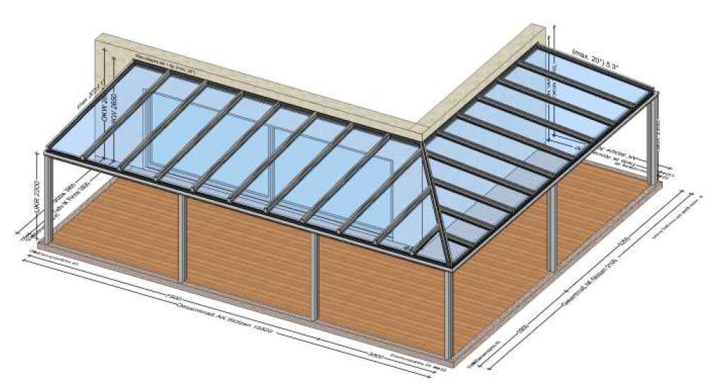 Terrassenüberdachung über Eck aus Aluminium