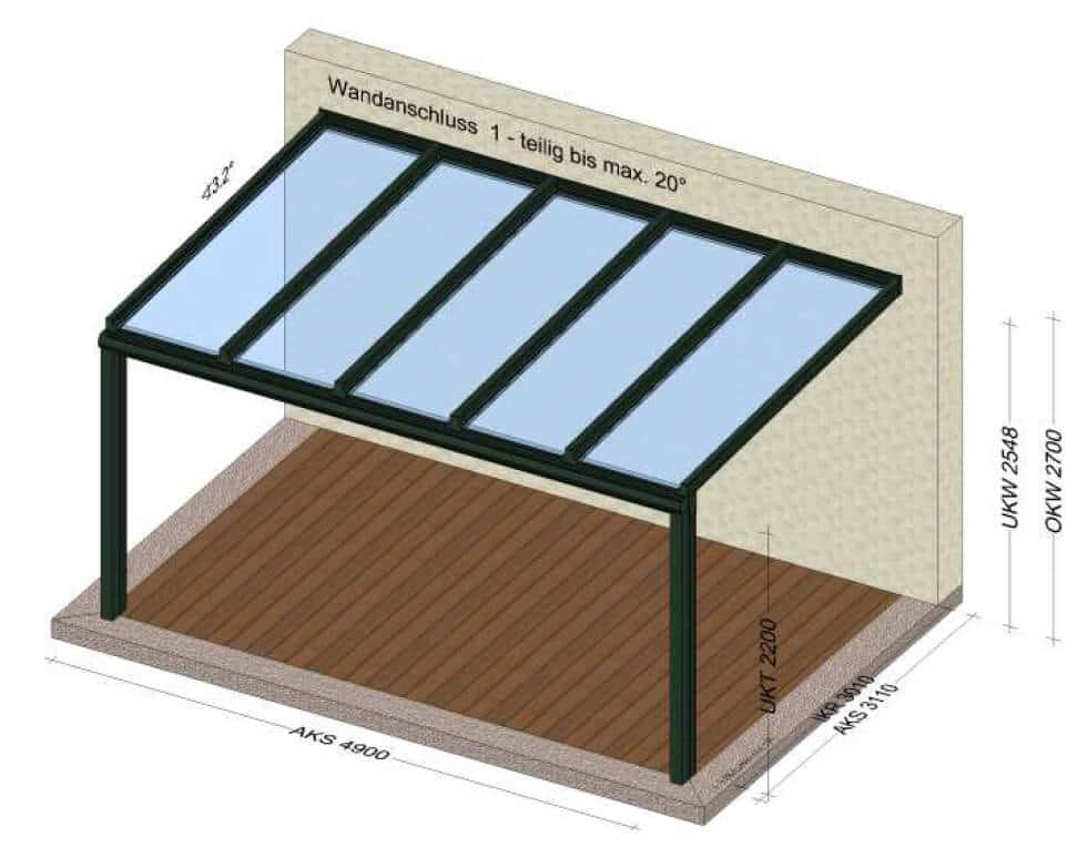 Überdachung auf Terrasse
