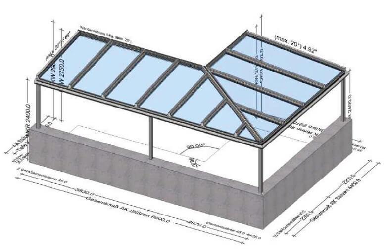 Überdachung Glas Planung
