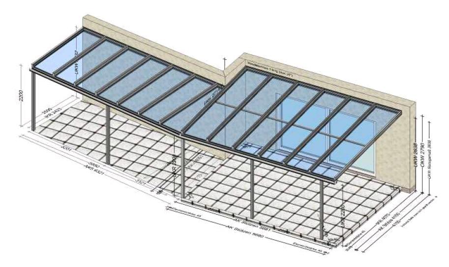 Überdachung individuelle Dachkonstruktion