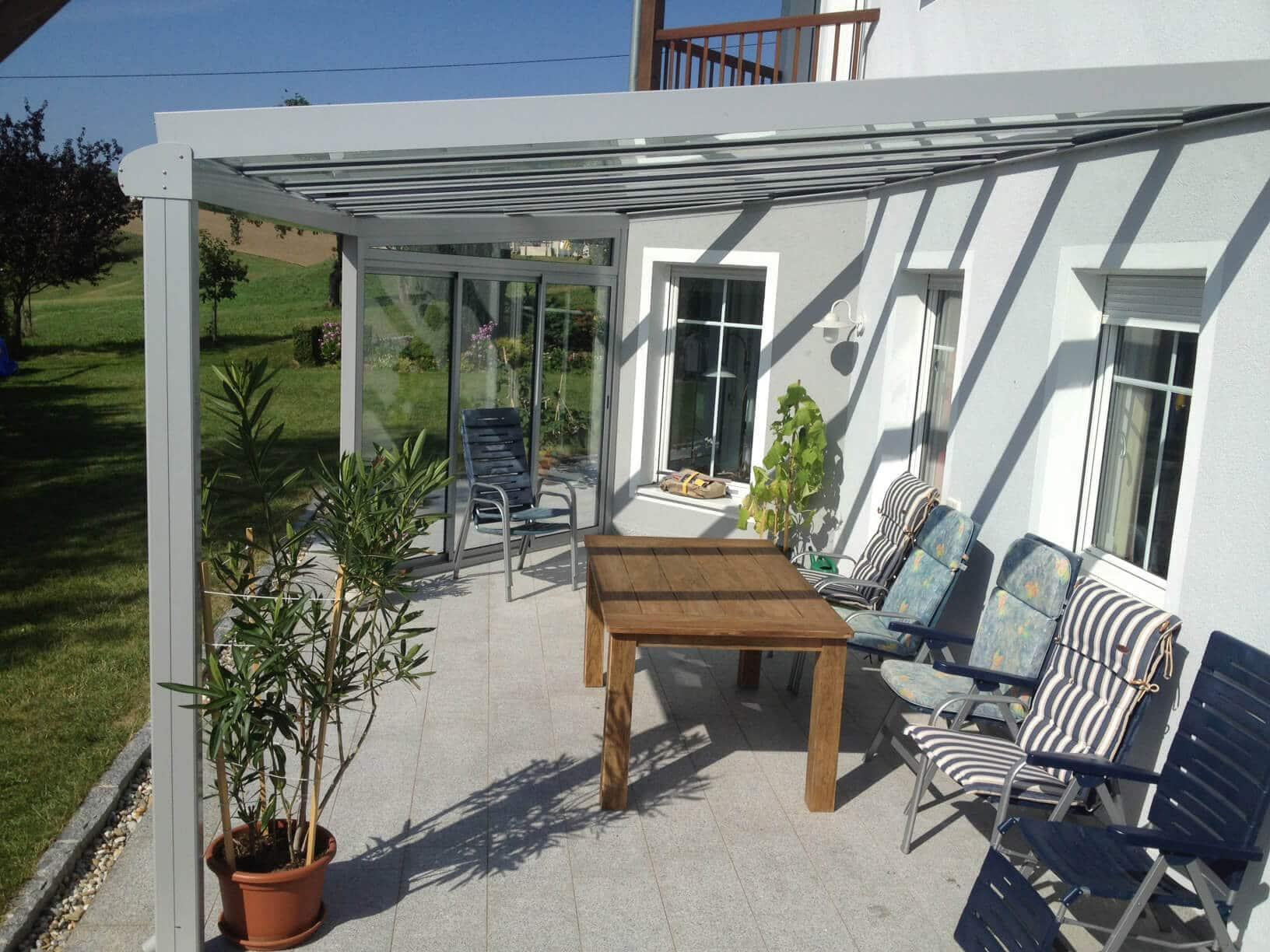 Hauseingang Windfang Kunststoff Mit Aluminium Dachkonstruktion Glas