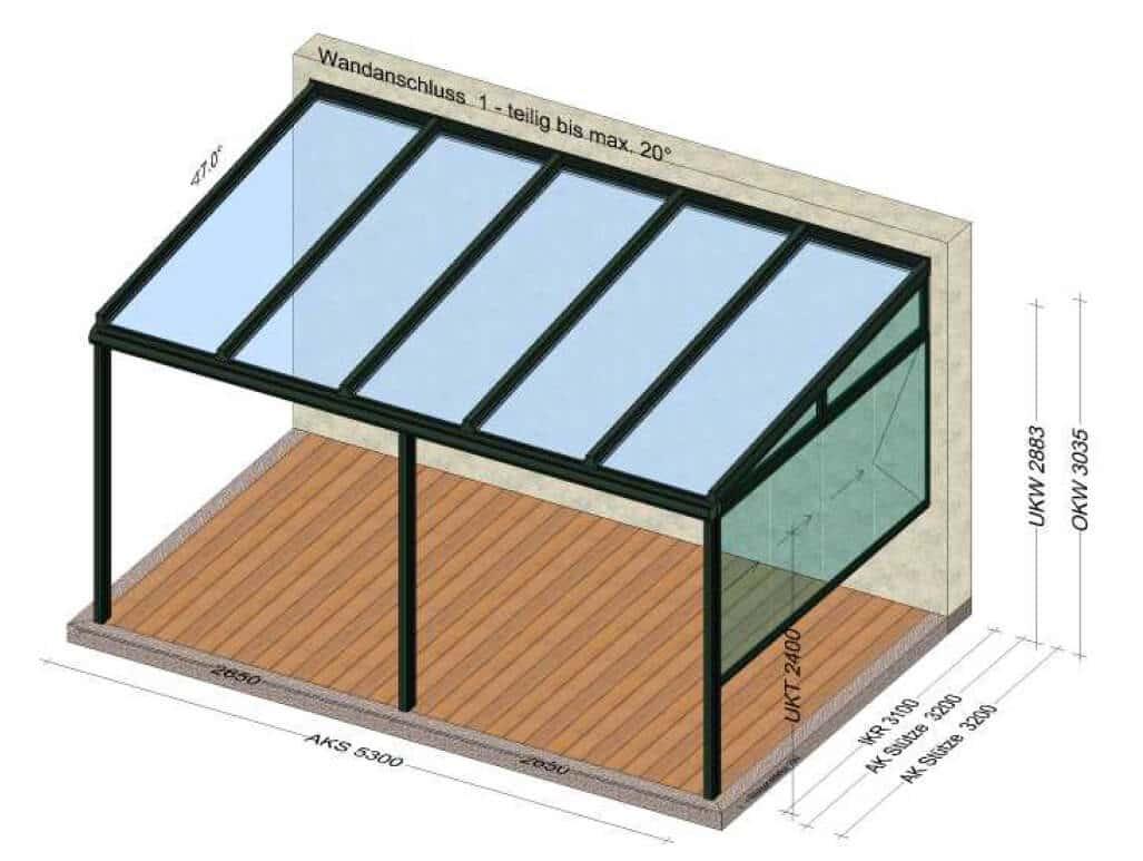 Überdachung mit Teilverglasung zur Seite