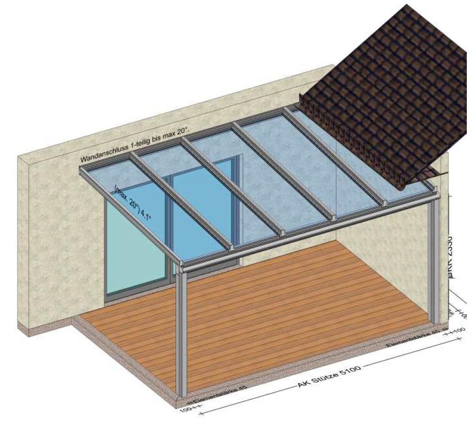 Überdachung unter Dachüberstand