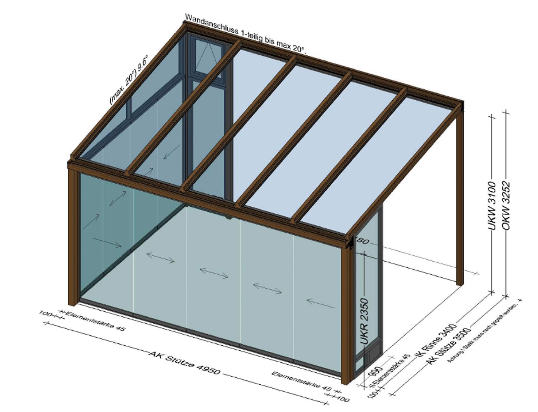 Überdachung vorne und eine Seite mit Schiebetüren geschlossen - Planung Rohrbach