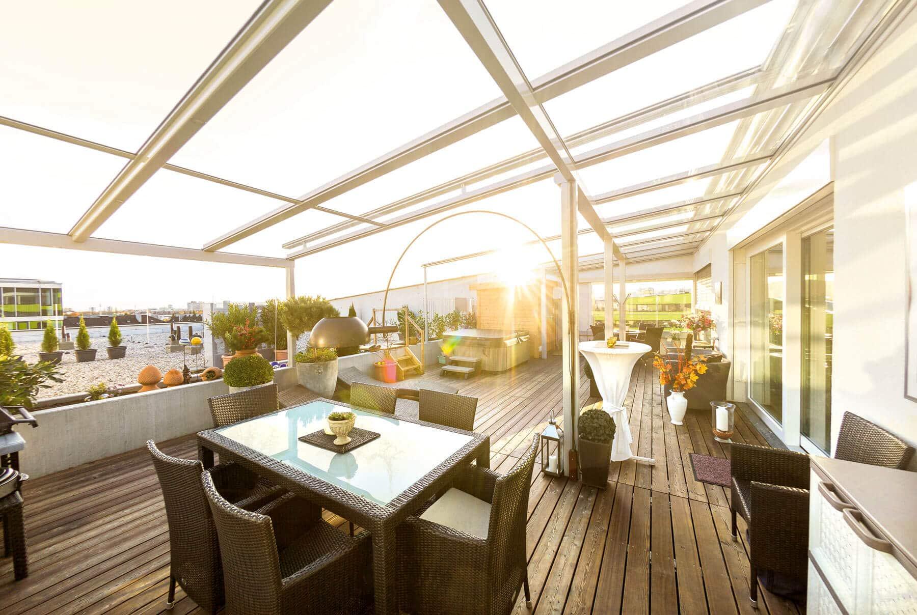 Verglasung für Dachterrasse