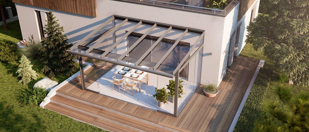 Wetterschutz dank Verglasung Terrasse