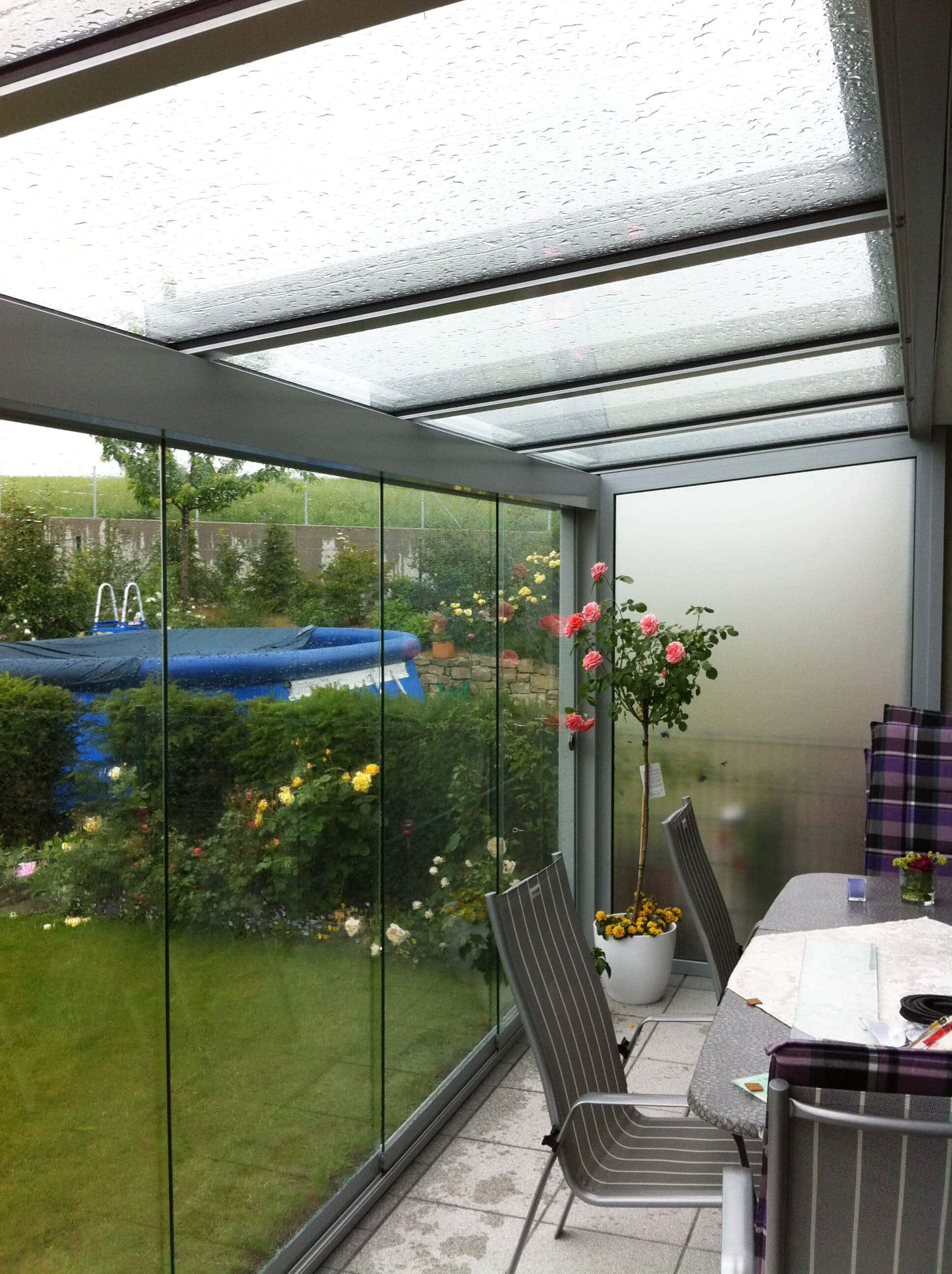 Wetterschutz Fur Terrasse Aus Glas Und Aluminium
