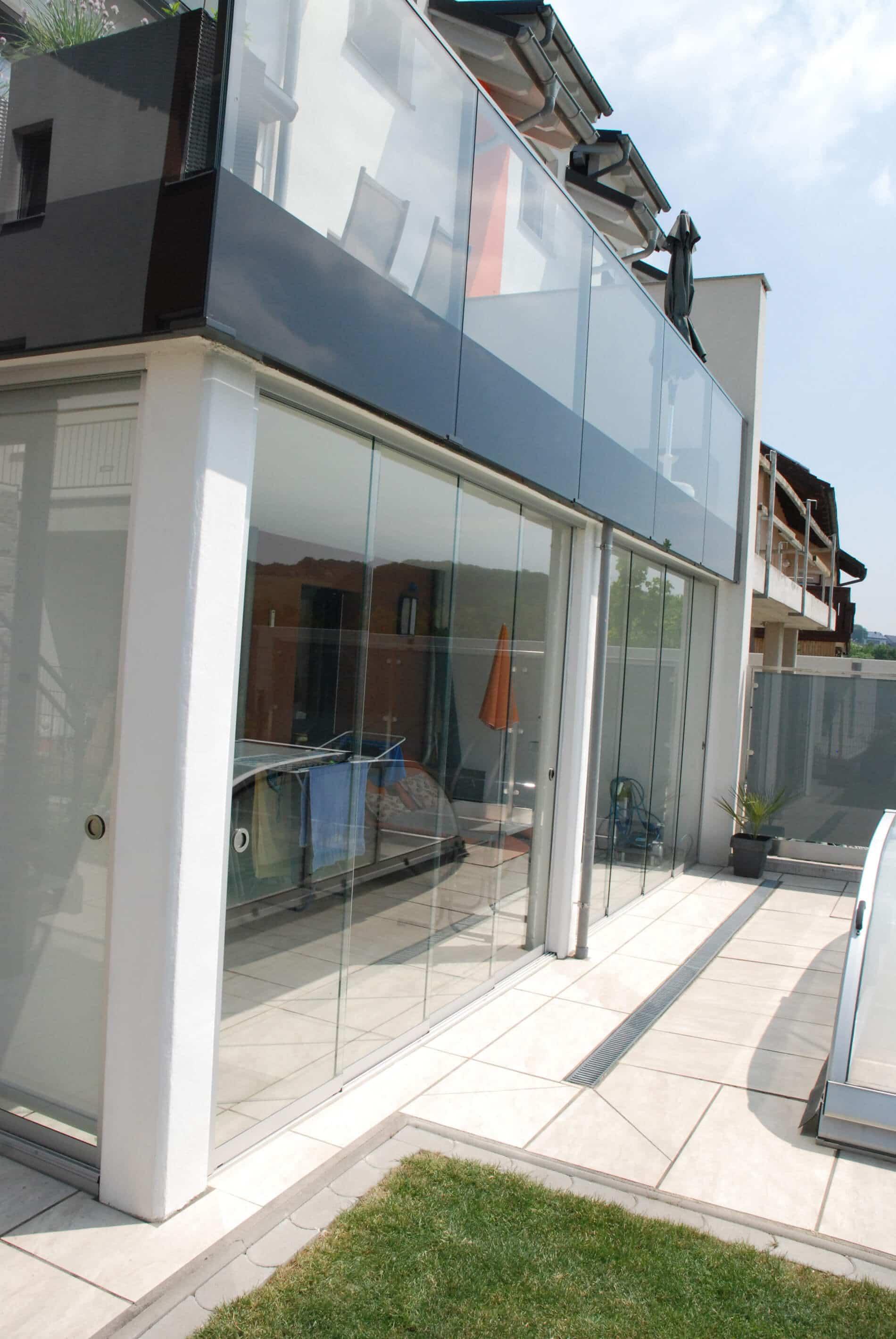 Wetterschutz Glas Terrasse