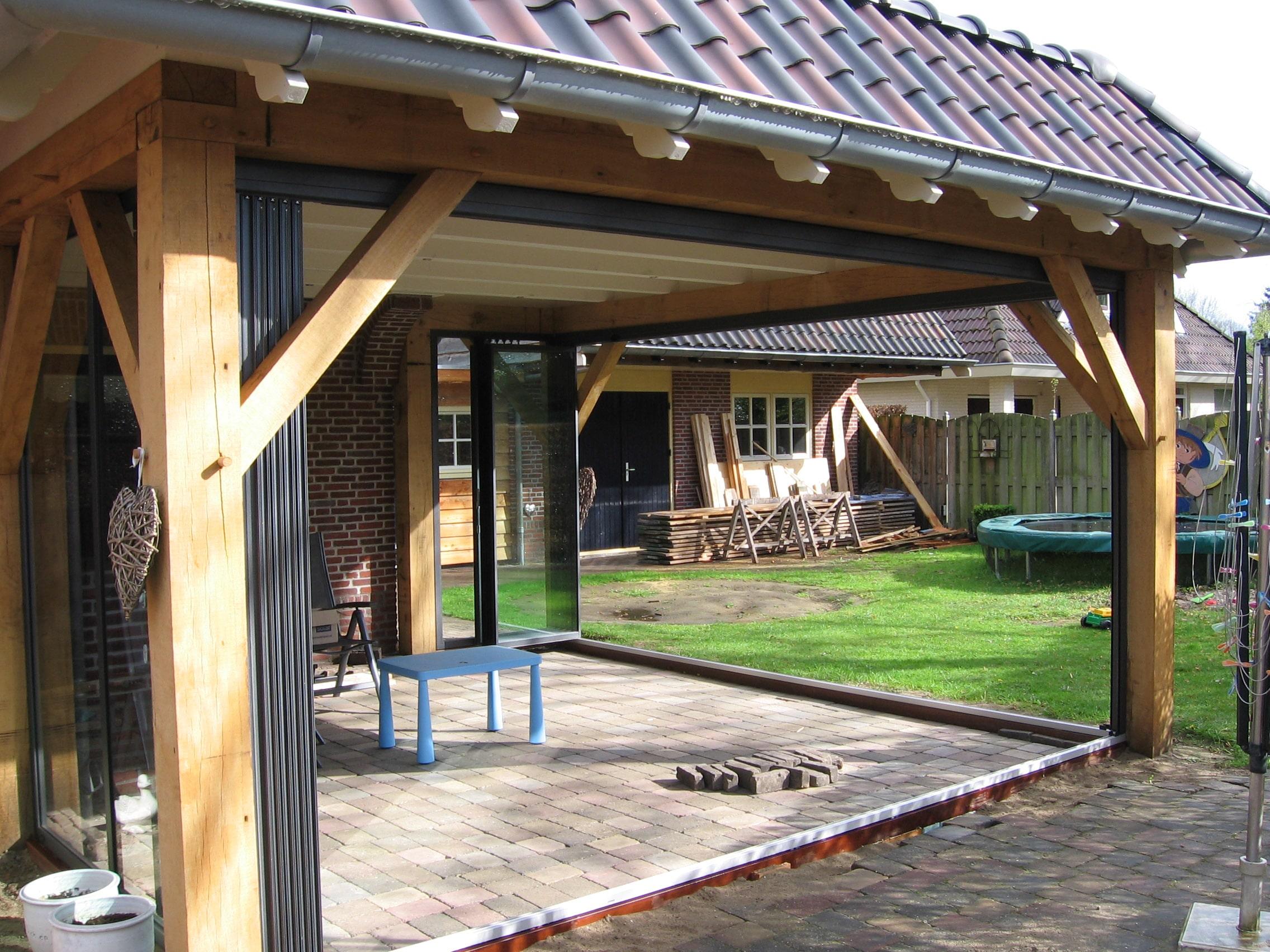Wetterschutz Terrasse seitlich - Alu und Glas
