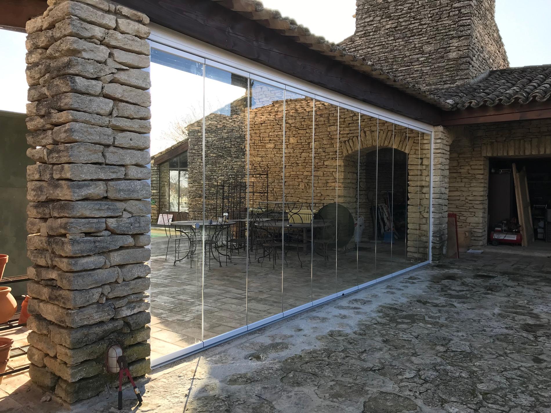 Windschutz Terrasse Mit Glas Schiebe Dreh System