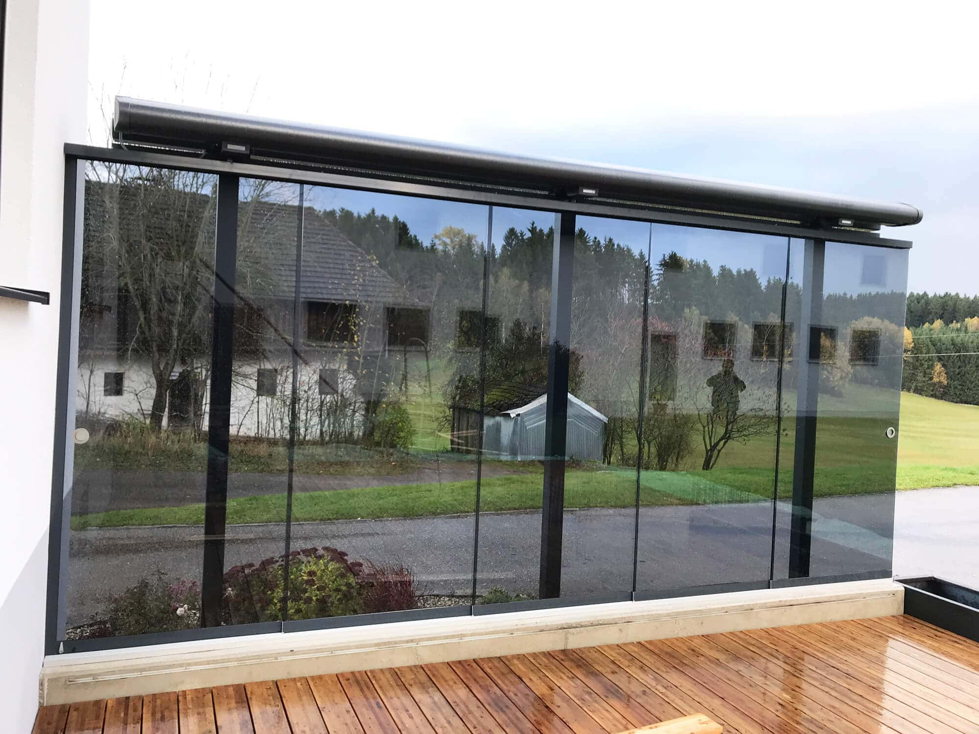 Windschutz Fur Terrasse Transparent Mit Glasschiebeturen