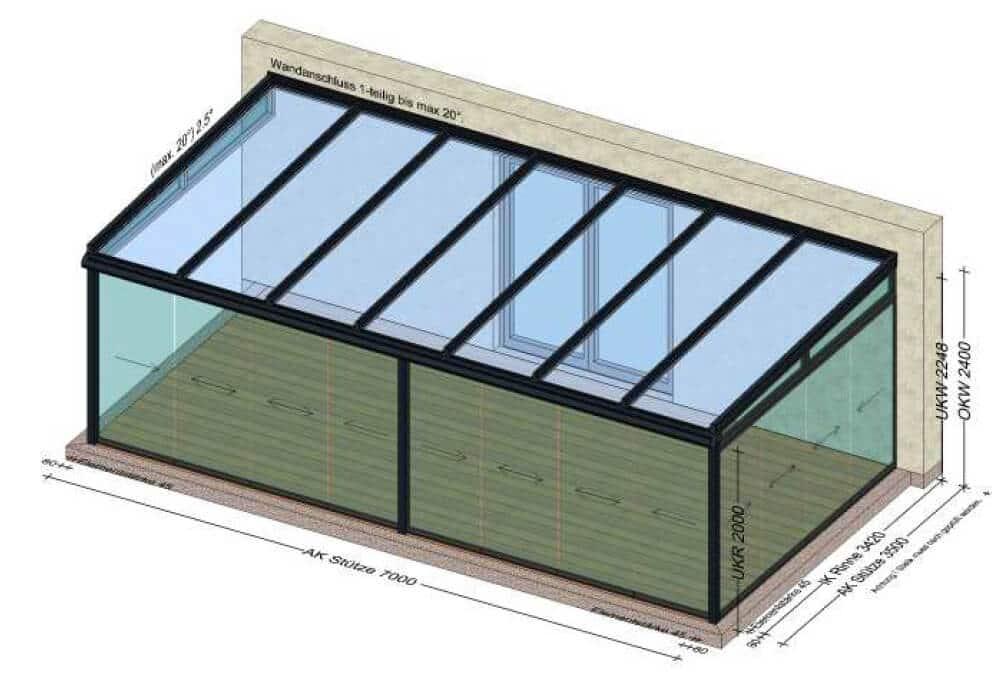 Wintergärten Aluminium Planungsbeispiele