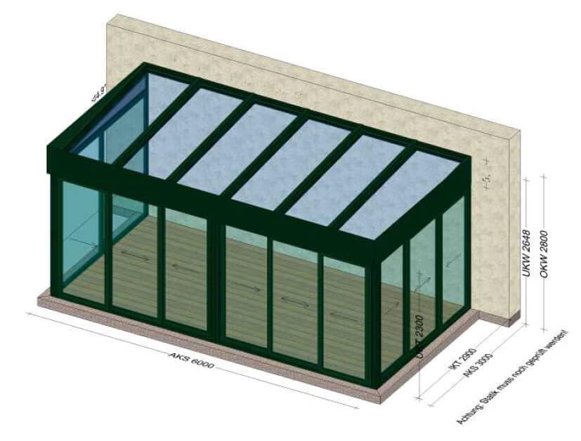 Wintergärten modern mit Flachdach