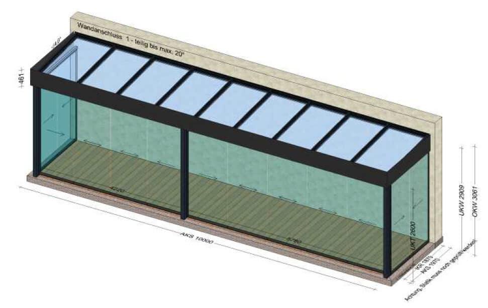 Wintergarten 10 x 2 Meter - Planung