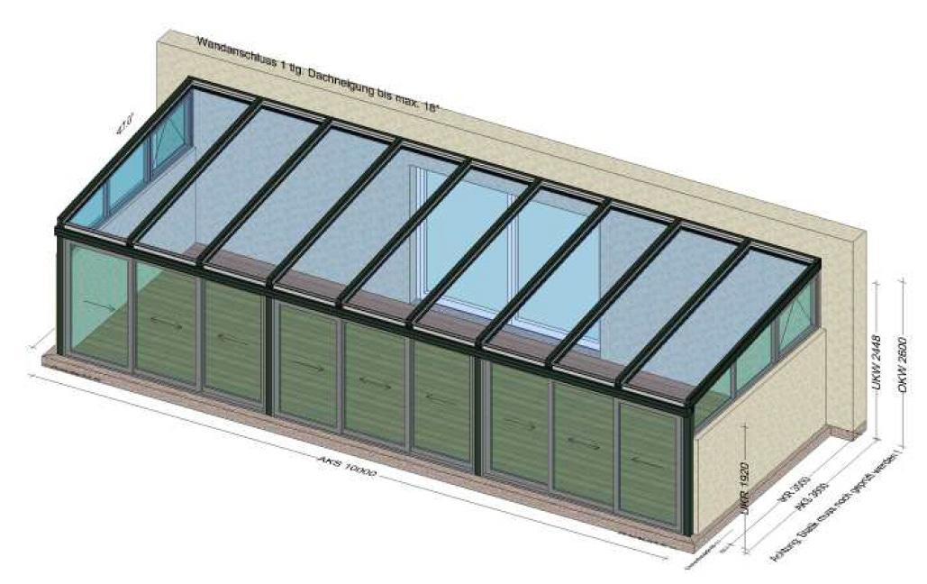 Wintergarten 10x4 Meter Planung
