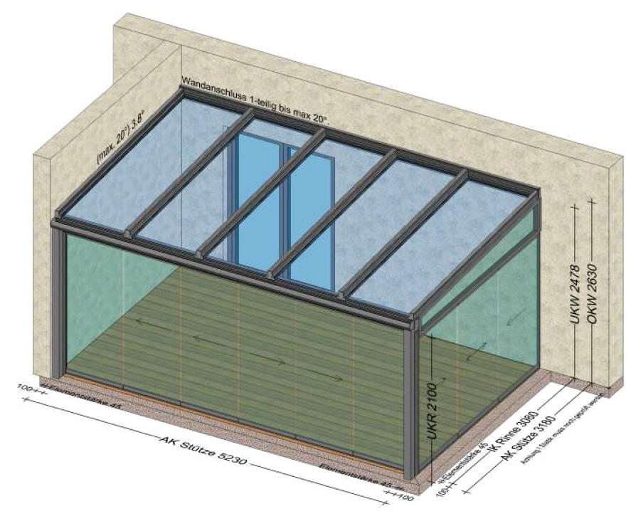 Wintergarten 2 Seiten Glasschiebewände - 1 Seite Hauswand