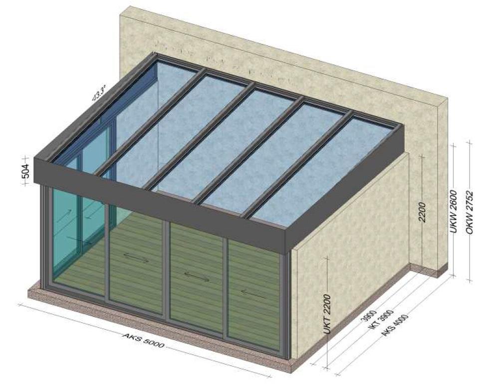 Wintergarten 2 Seiten mit Schiebetüren - Planung