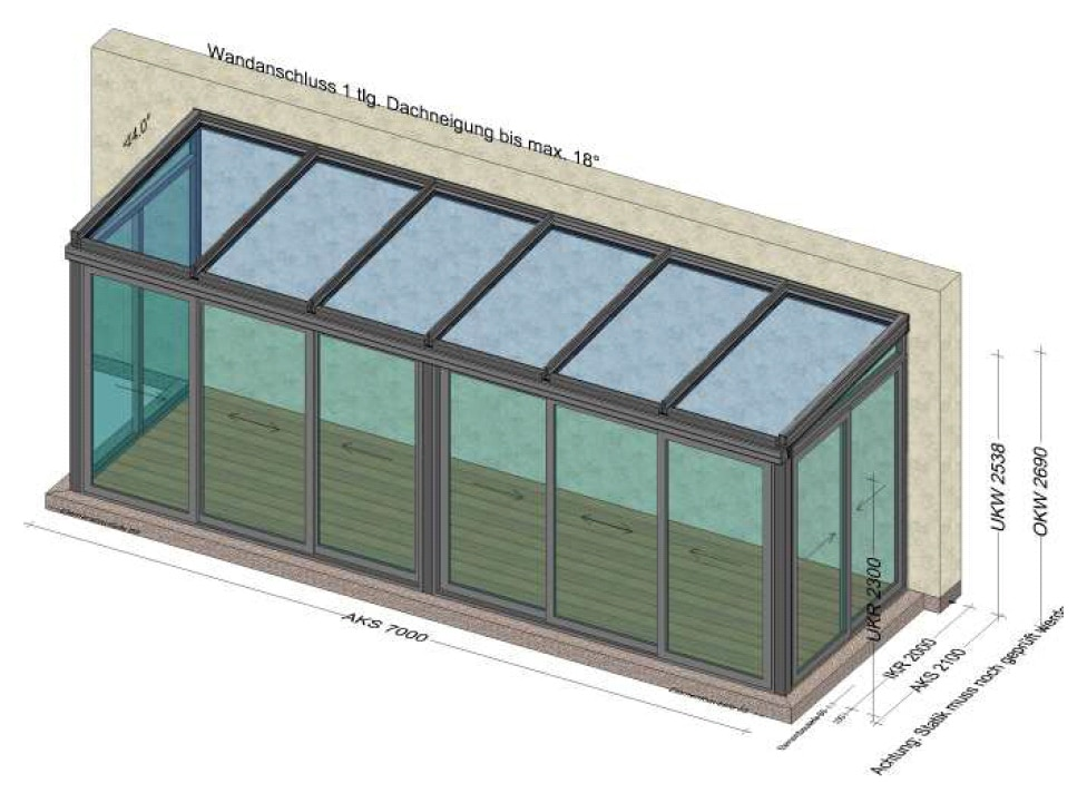 Wintergarten 7x2 - Planung in 4320 Perg - OÖ