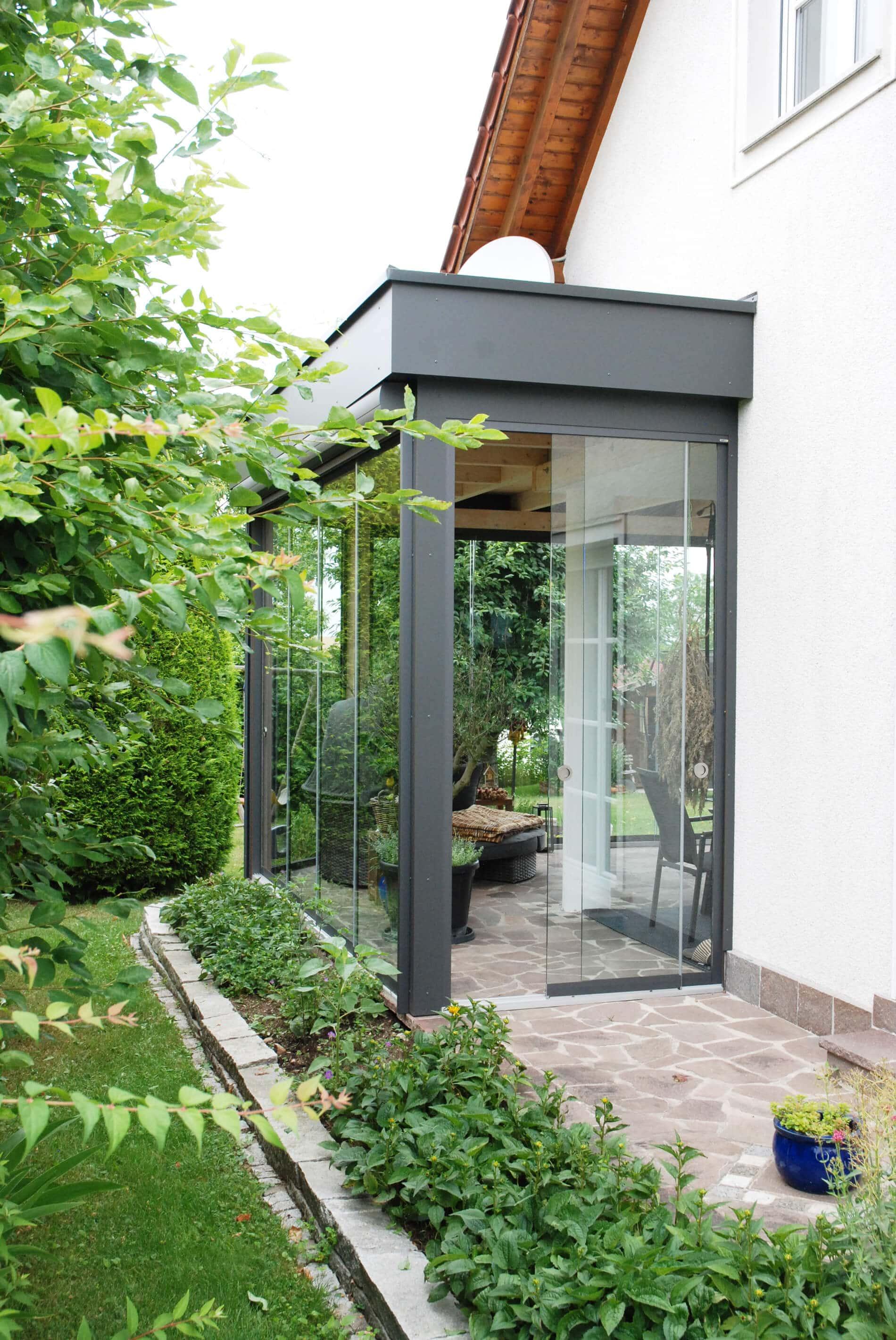 Wintergarten Aluminium-Holz Flachdach