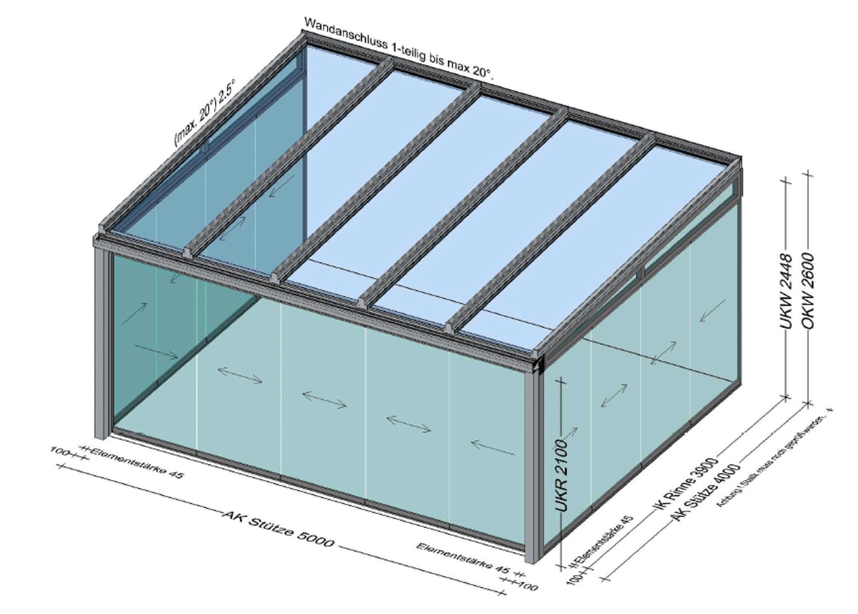 Wintergarten Aluminium mit Glasschiebetüren 5 x 4 Meter
