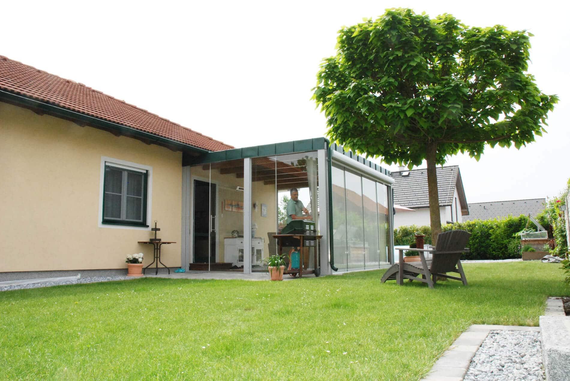 Wintergarten Anbau Holz Einfamilienhaus