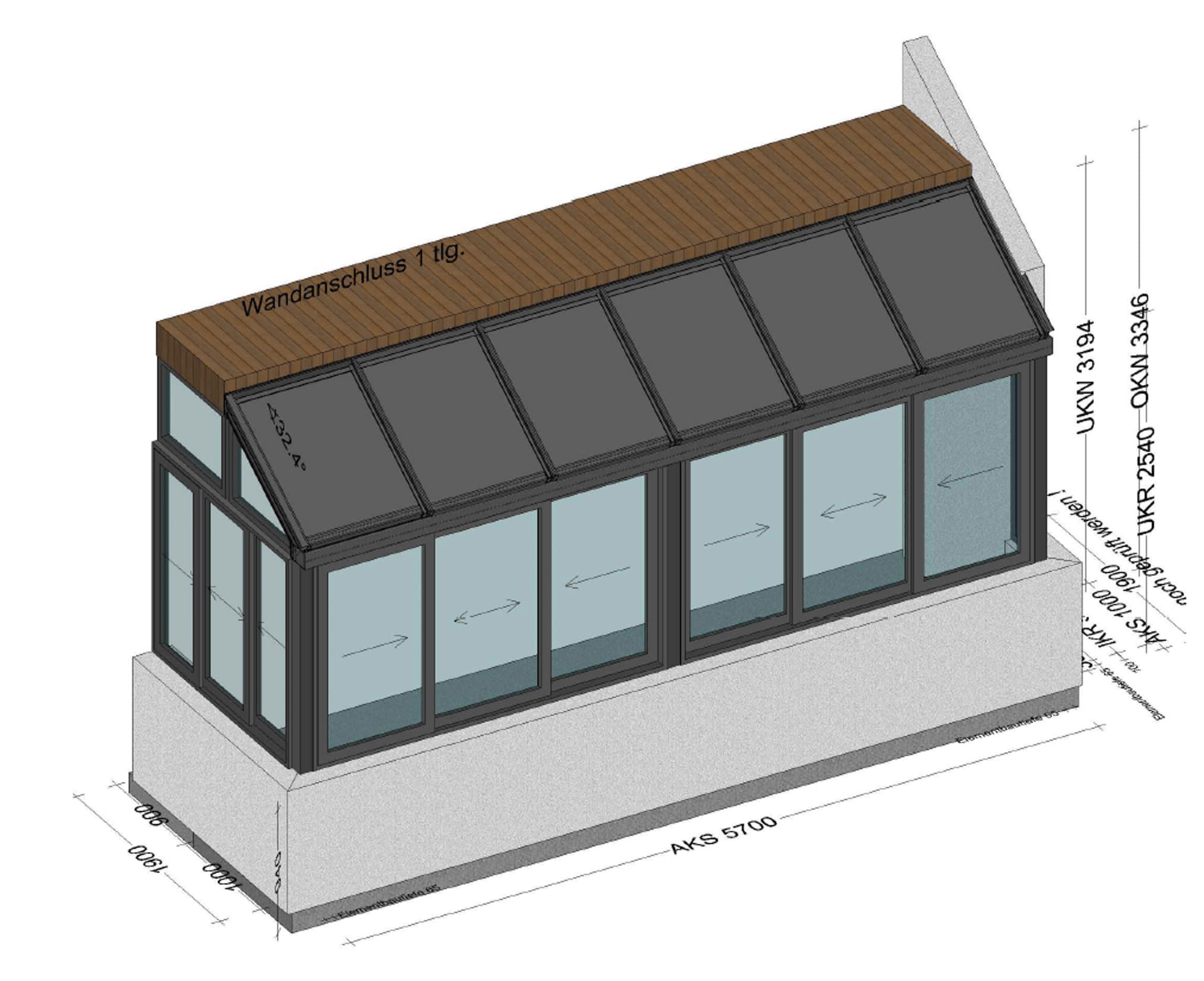 Wintergarten auf Balkon - Planung BV Gunskirchen OÖ
