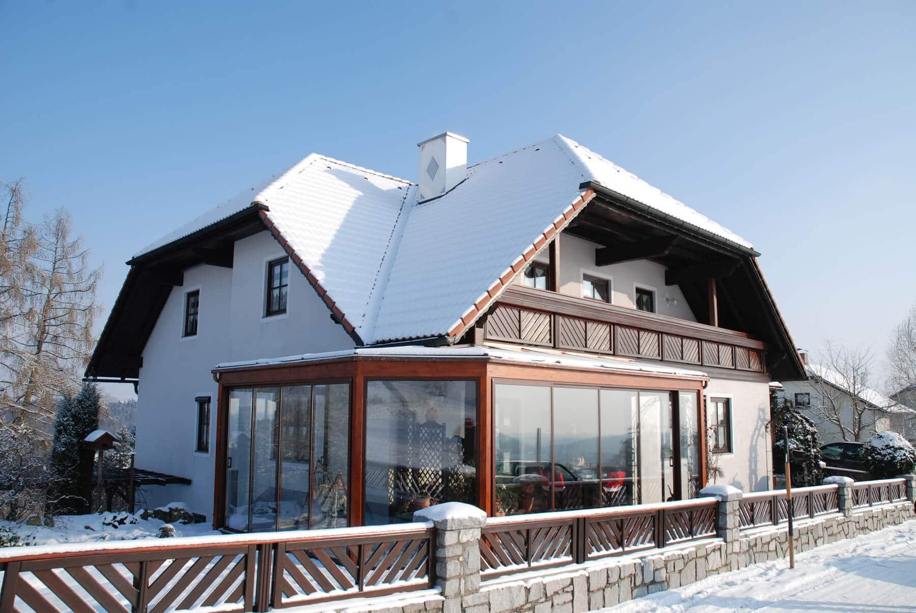 Wintergarten Dachglas und Schiebetüren