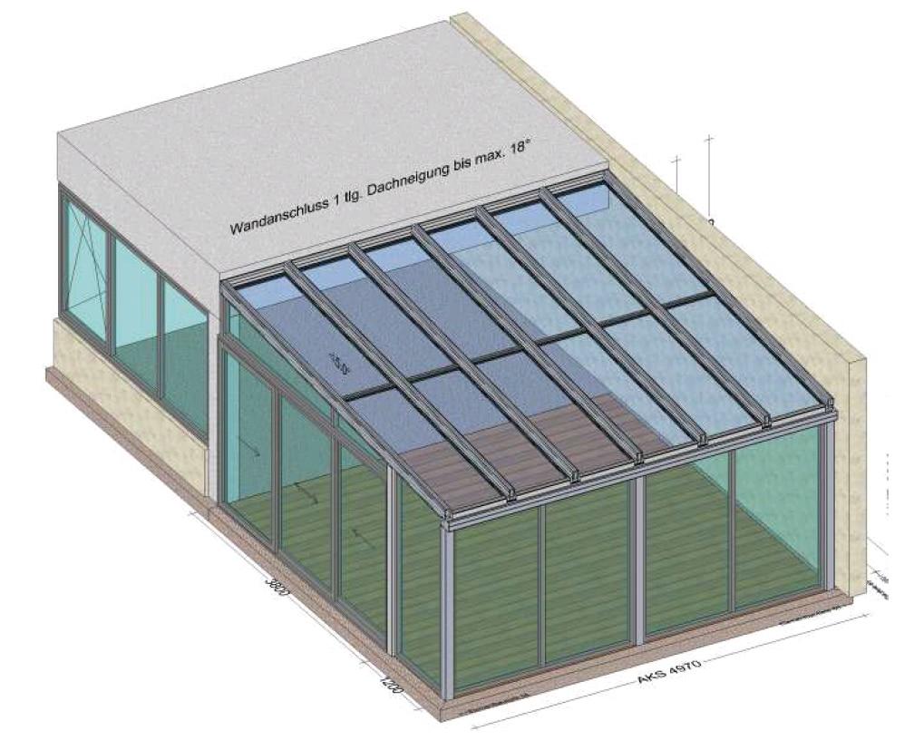 Wintergarten - Front mit Festverglasung - Seite mit Schiebesystem