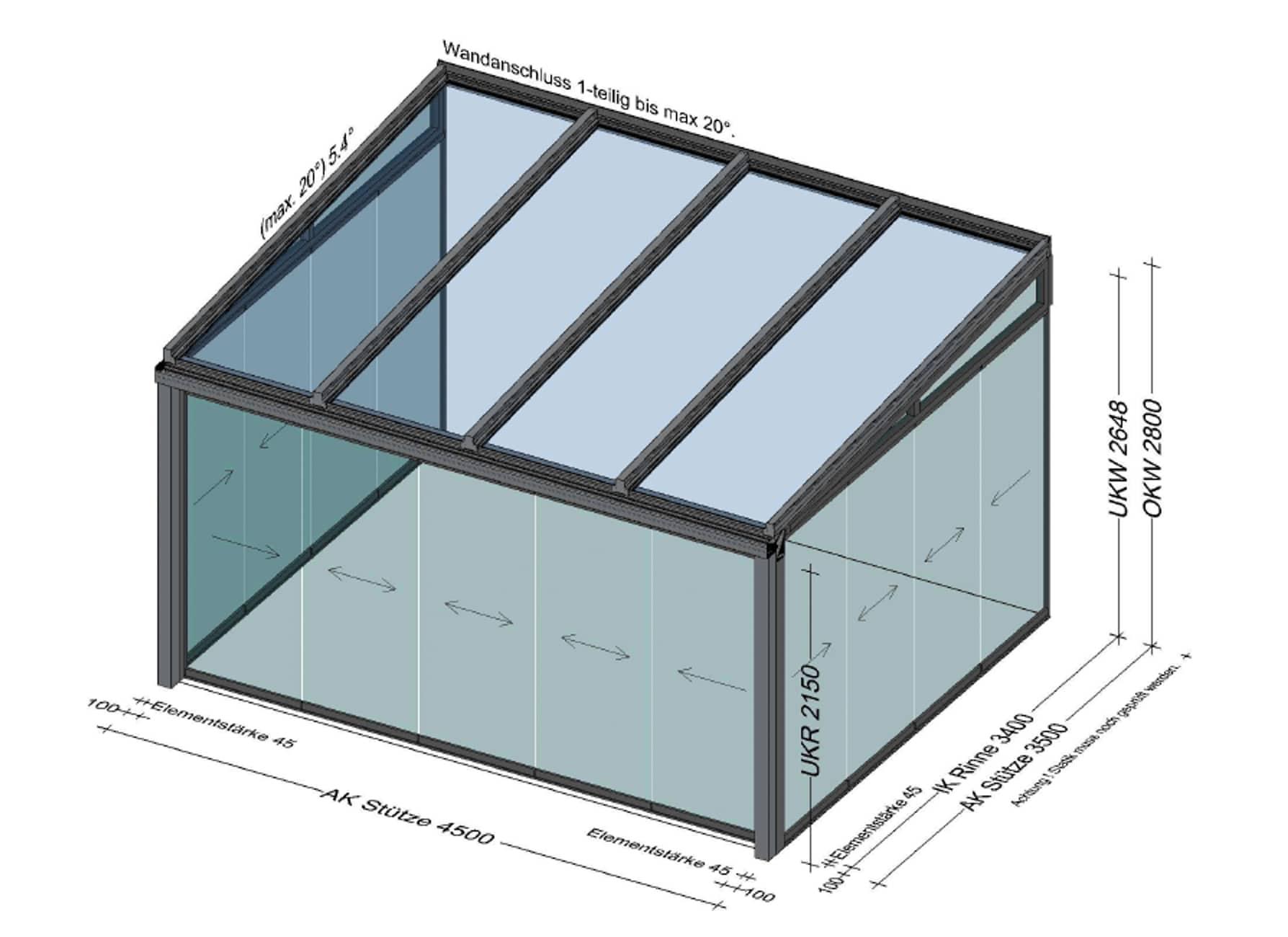 Wintergarten kalt mit Glas-Schienensystem