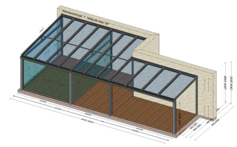 Wintergarten kalt mit zusätzlicher Terrassenüberdachung