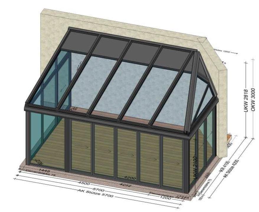 Wintergarten klassisch mit Dachverglasung