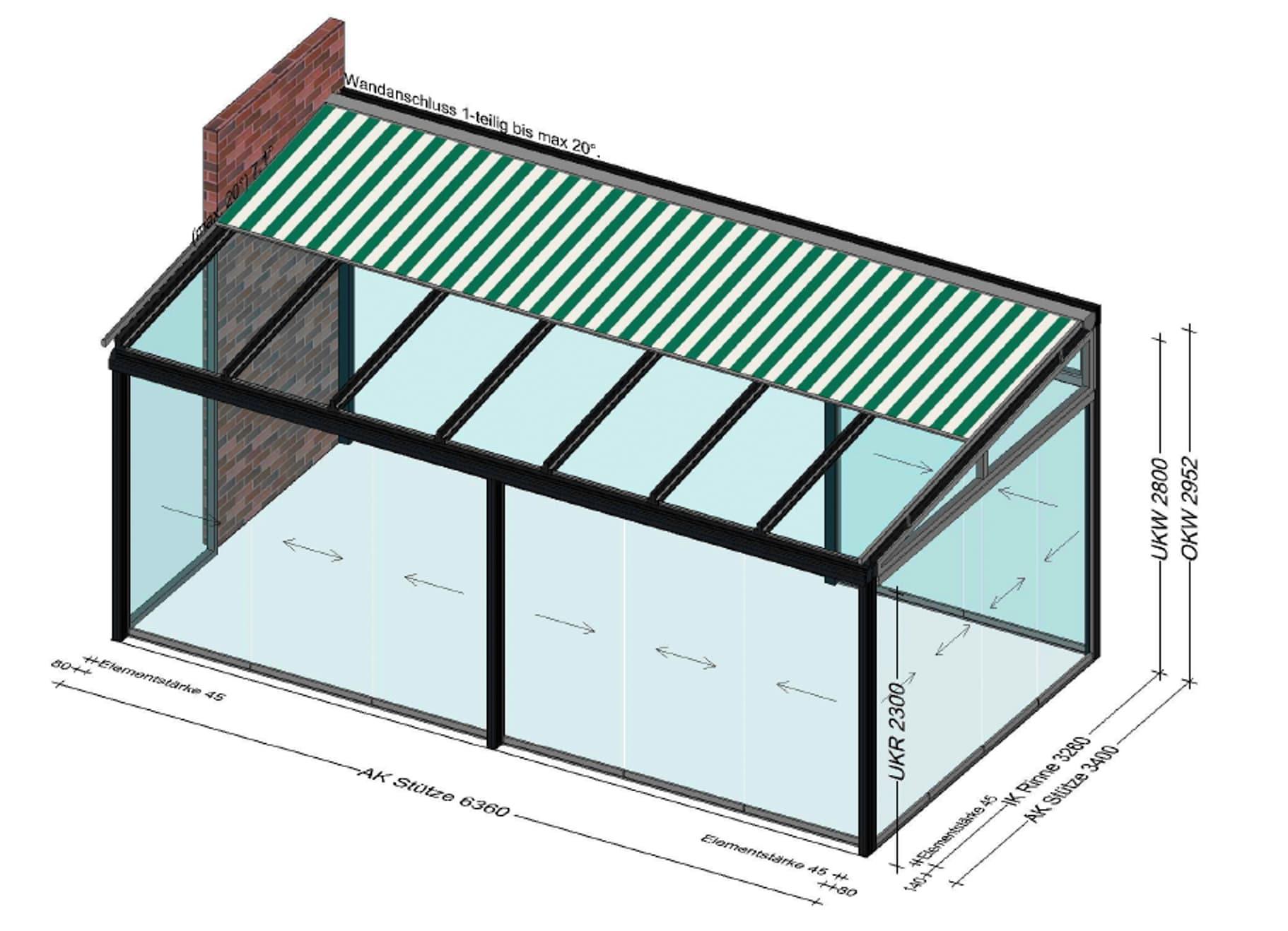 Wintergarten mit Aufglasmarkise Planung OÖ