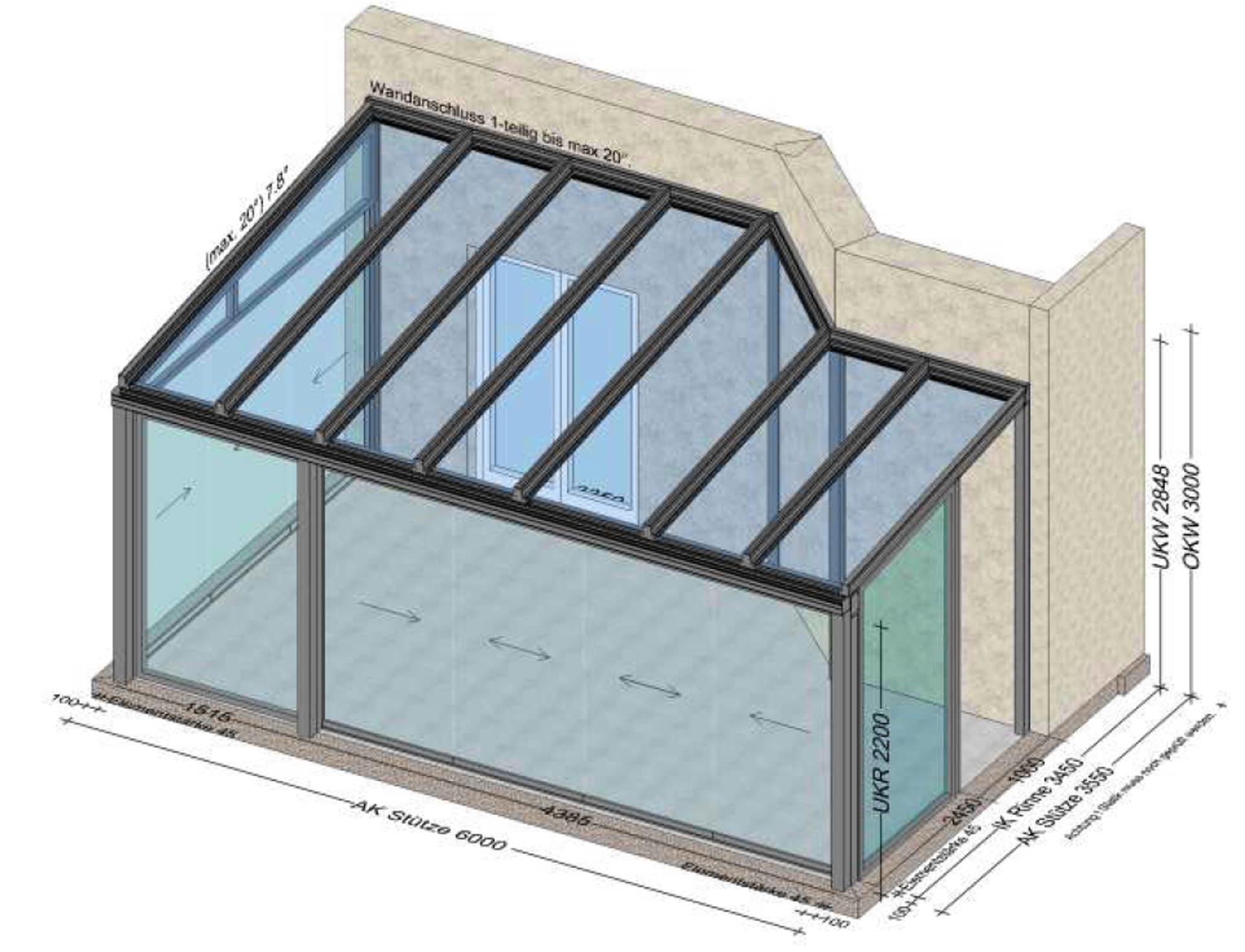 Wintergarten mit modernen Glasschiebetüren - Planung Leonding / Oberösterreich OÖ