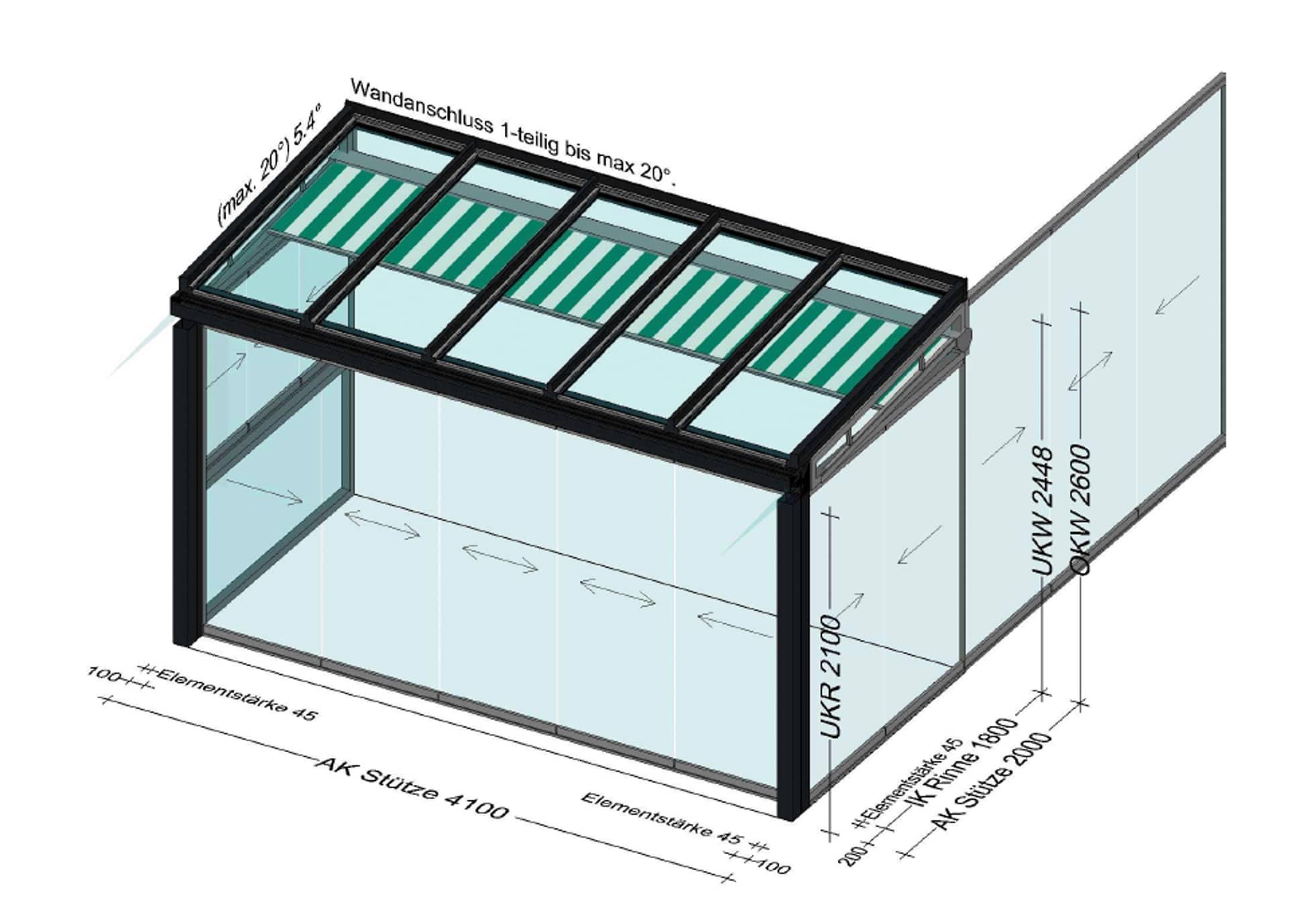 Wintergarten mit Unterglas Verschattung
