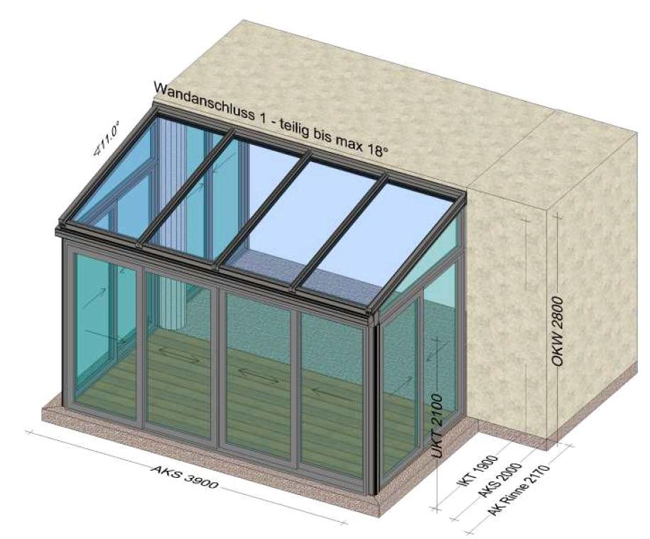 Wintergarten mit unterschiedlich breiten Seitenwänden - Planung