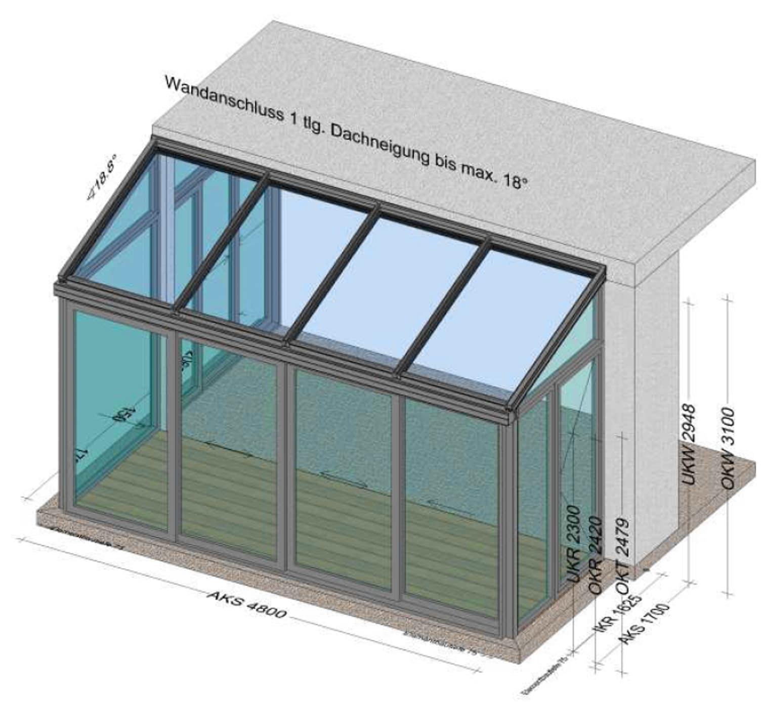 Wintergarten mittelwarm mit modernen Schiebetüren - Planung BV Linz-Land