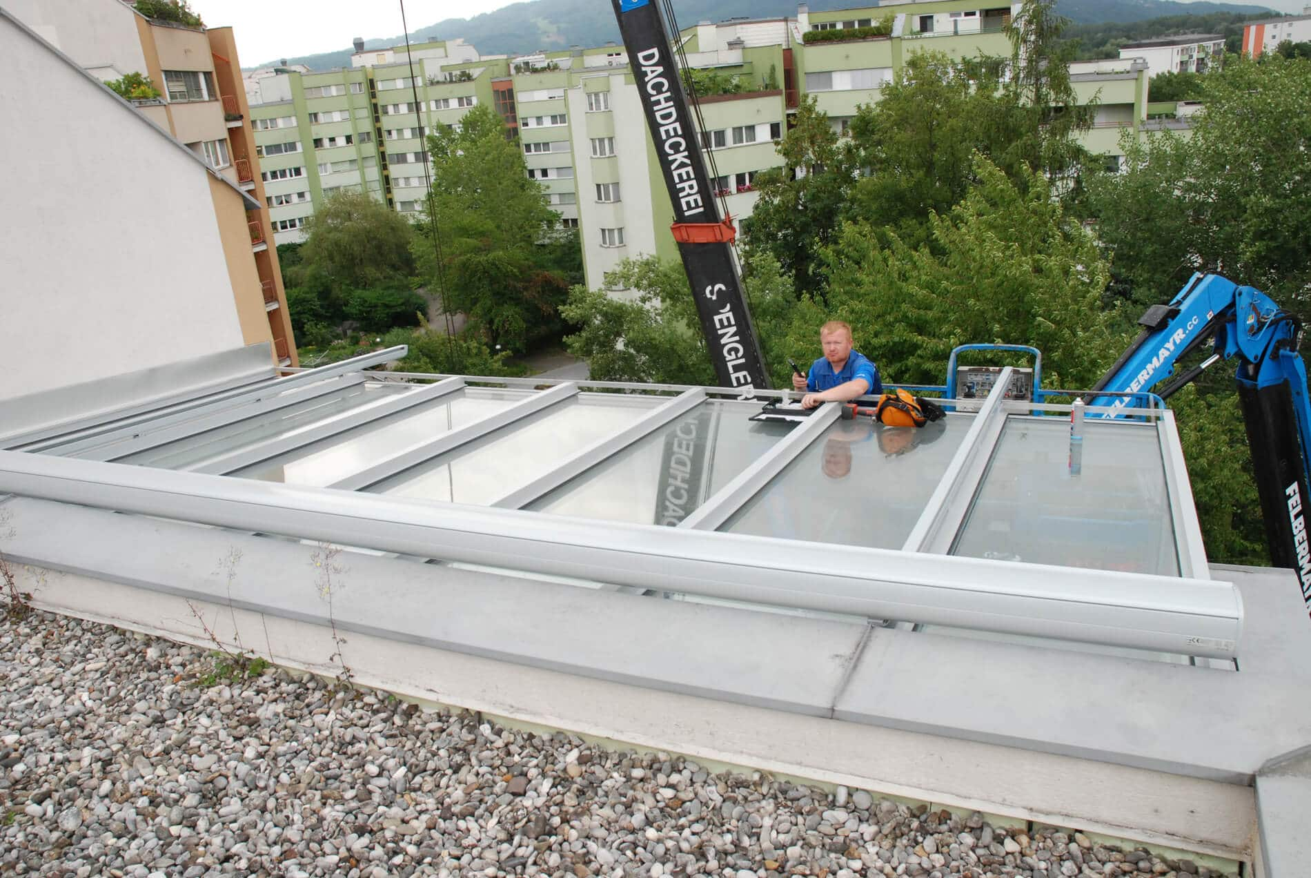 Wintergarten Montage Dachgeschoss in Linz