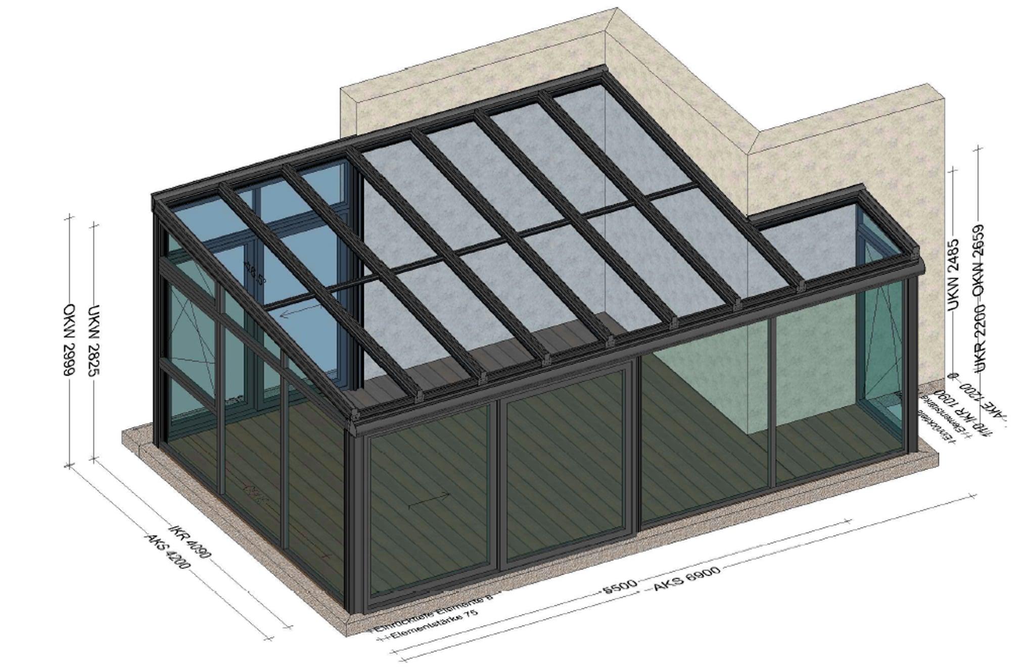 Wintergarten Planung Skizze