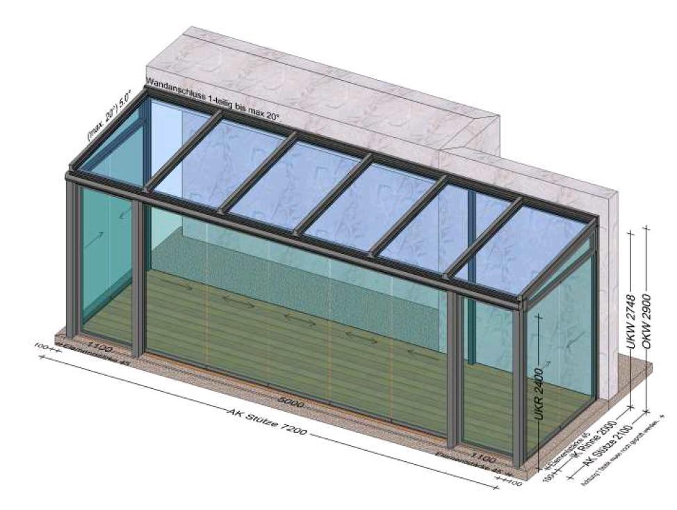 Wintergarten Planung über 7 Meter