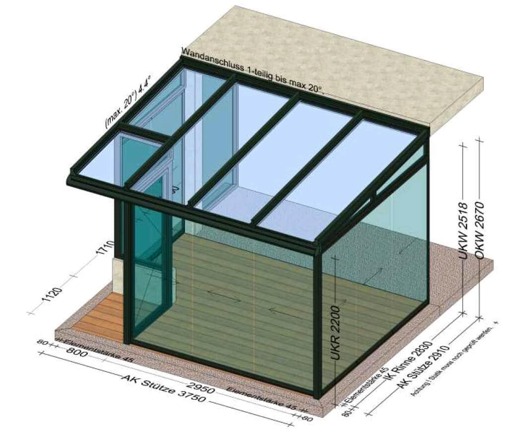Wintergarten Sonderanfertigung Planung