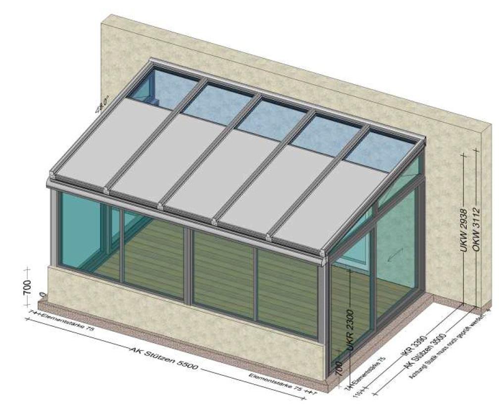 Wintergarten teilverglast bei Dach - Planung für Grieskirchen
