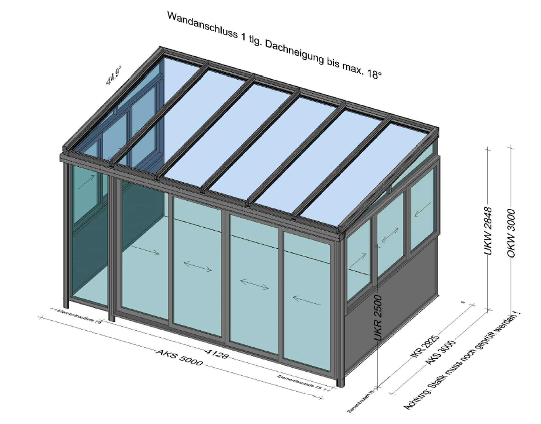 Wintergarten vorne Schiebetüre - seitlich mit Schiebefenster - Planung in 4050 Traun