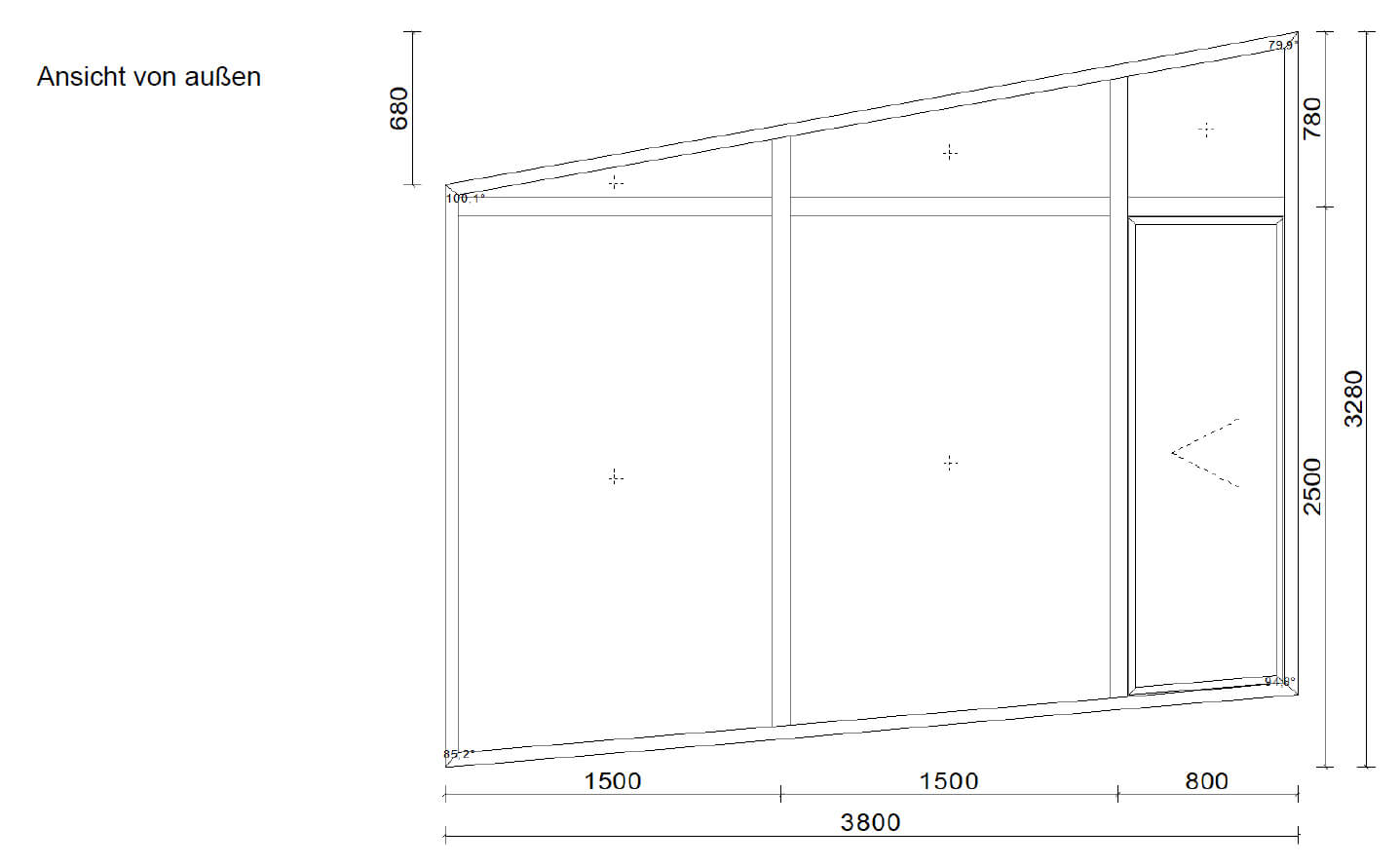 Zeichnung Aluminium-Schrägelemente Sonderkonstruktionen